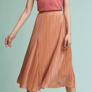 Anthropologie Maeve Pleated Metallic Midi Skirt
